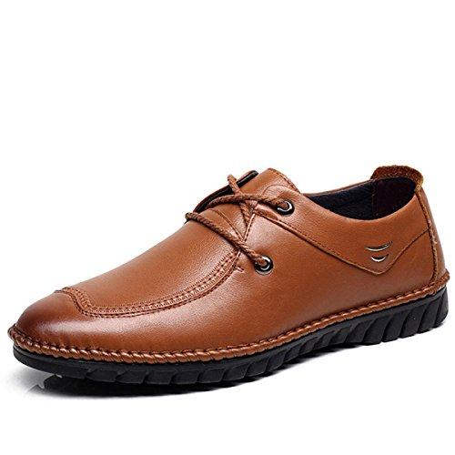GRRONG Herren Lederschuhe Echtes Leder Freizeit Breathable Brown Brown