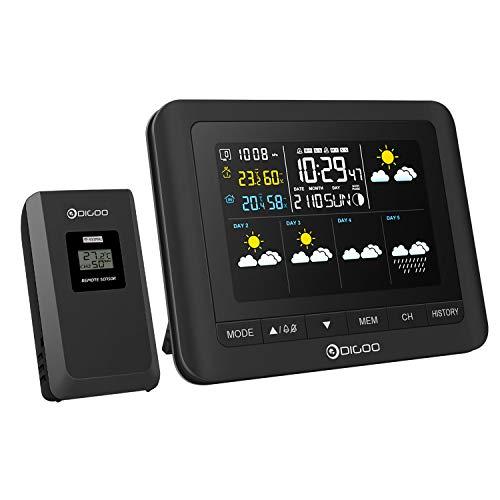 Wetterstation, 5 Tage Wettervorhersage, DIGOO DG-TH8805 Wetterstation mit Funk, Hygrometer Thermometer Drahtlose Zeit- / Temperaturwarnung Feuchte-LED-Anzeige