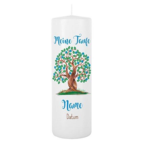 Striefchen® Taufkerze für Jungen - Motiv: Baum des Lebens - inkl. Gratis Beschriftung 250/80mm Brenndauer ca. 120 h Weiß