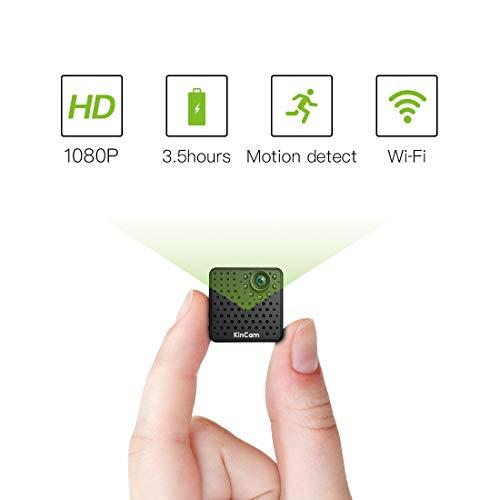 (Mini Kamera WiFi 1080P,KinCam Wireless WLAN Tragbare Kamera Überwachungskamera mit Bewegungsmelder und IR Nachtsicht Ideal für IOS, Android und ipad)