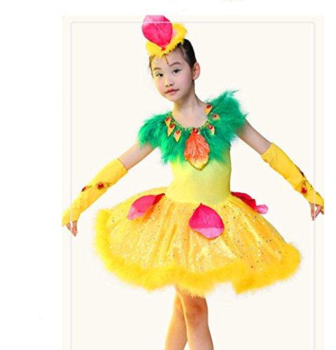 Ballett Vogel Kostüm - HUOFEINIAO-Tanzkleidung Kinder glücklich Kuckuck Show Kostüm Tanz Tier Vogel Tanz Kostüm Mädchen Tanz Rock, 140cm, Yellow