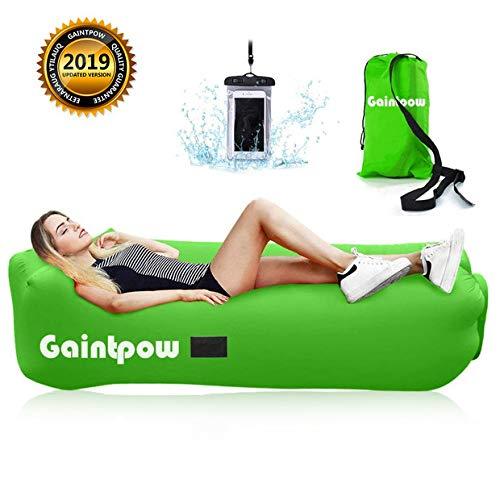 Gaintpow - sdraio gonfiabile impermeabile con tessuto spesso, divano gonfiabile portatile, per campeggio, escursionismo, piscina, spiaggia, regge fino a 226,8 kg, green