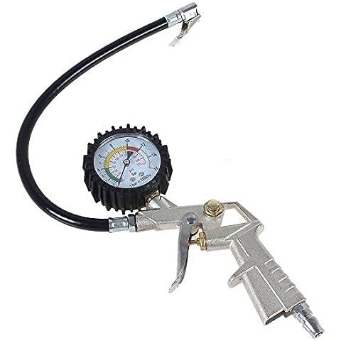 Xcellent Global Inflador de Neumáticos con Manómetro para Medición de la Presión del Neumático del Coche AT016
