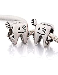 """Andante-Stones - 925, cuenta de plata """"diente y cepillo de dientes"""", elemento bola para cuentas European Beads + saco de organza"""
