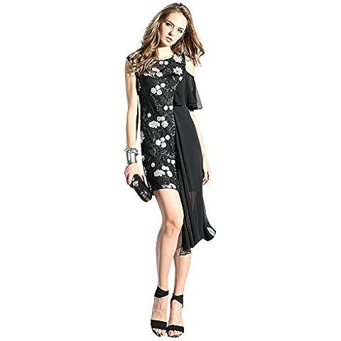 Oulu Mujeres 2016 nuevo diseñador vestido de Negro con flores blancas ropa de sport 272695 (M)