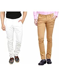 Nimegh White and Wine Color Cotton Casual Slim fit Trouser For Men's (Pack Of 2)