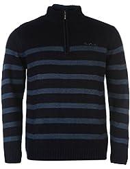 Pull homme à rayures fermeture éclair sur Quart en tricot