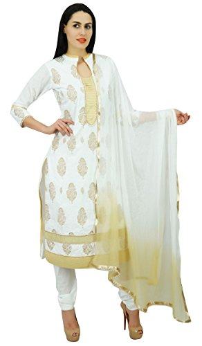 Atasi Frauen weiße Gerade Weißer Anzug mit Dupatta Designer Cotton Salwaar Kameez Indian Ethnic Kurta Kleid (Salwar Dupatta Kameez)