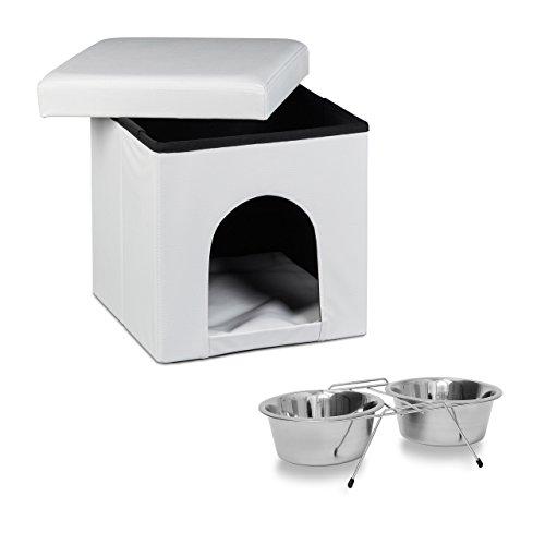 Relaxdays 2 teiliges Set Home Sweet Hund M, Hundebox als Sitzhocker mit Tierhöhle, Hundebett weiß, Doppelnapf Futterstation