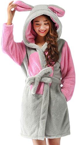 Preisvergleich Produktbild FLYCHEN Mädchen Bademäntel Panda Schlafanzug Hoodie Cartoon Robe einteilige Nachtwäsche Maus L