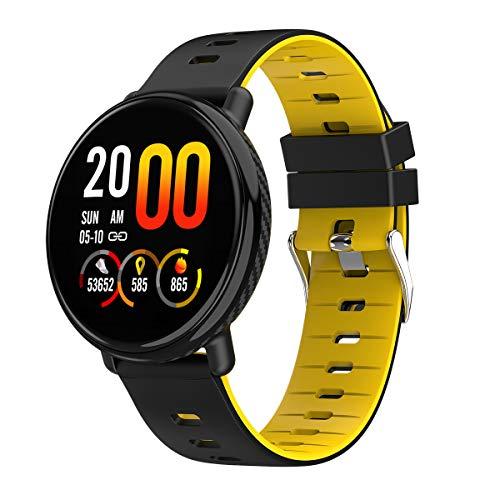 GsMeety Heart Rate Monitor Smart Watch, attività Tracker, Step Counter, Sleep Monitor, contatore di caloria, 1,3' Touch Screen, IP68 Impermeabile contapassi Orologio,Giallo