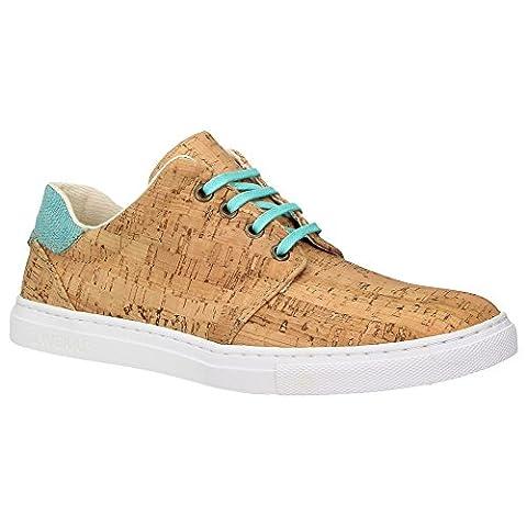 ZWEIGUT® -Hamburg- echt #402 Herren Schuhe Allwettertauglich Halbschuhe Bio-Baumwolle Sneaker, vegan + nachhaltig aus echtem Kork, Schuhgröße:43, Farbe:mint-kork
