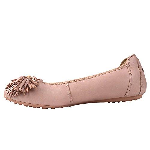 Signore delle donne scivolare sul balletto di pelle di pecora in pelle Flats Ballerine 607-24 (Rosa,38)