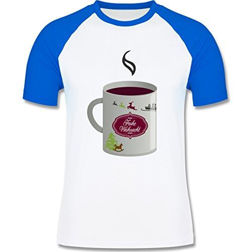Weihnachten & Silvester - Glühwein Frohe Weihnachten - zweifarbiges Baseballshirt für Männer Weiß/Royalblau