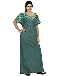 a22bc4a4aa OSF Polka Dots Design Printed Round Neck Cotton Nighty for Ladies Nightwear  Full Length Women Night Gown Short…