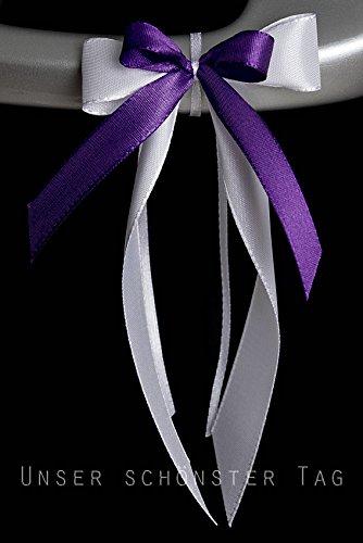 floristikvergleich.de 25 Antennenschleifen Autoschleifen Autoschmuck Hochzeit SCH0064 weiß lila