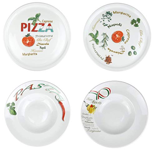 Retsch Arzberg '4er Set Pizza und Pasta' mit 2 Pizzateller und 2 Pastateller XXL Ø30cm (MIT Dekor) Pizza-teller