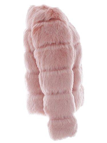 Simplee Apparel Damen Mantel Winter Elegant Warm Faux Fur Kunstfell Jacke Kurz Mantel Coat Rosa