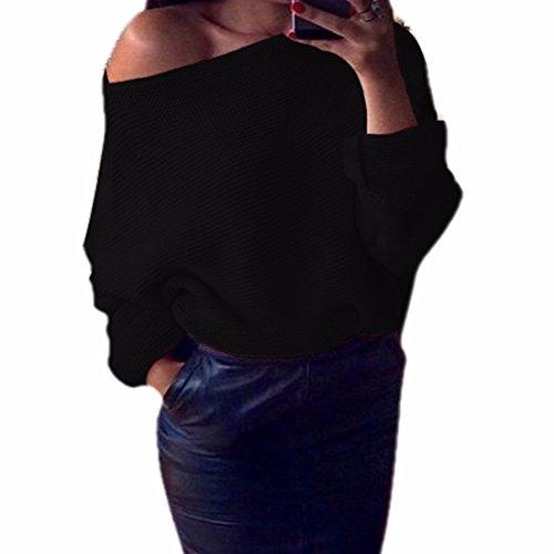 QIYUN.ZOutwear Femmes Aile De Chauve-Souris Épaule Pull À Manches Creux Pull En Tricot Noir