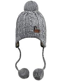 d623c87c4b99 Enfants Chapeau Cagoule Hiver Bonnet chaud Tricot en Coton avec Pompon de  Fausse Fourrure Bonnet de