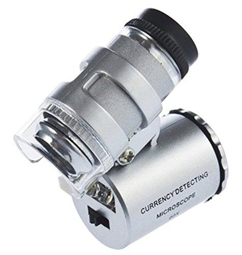 DOXMAL Mini 60 X Microscopio LED UV Luz, 60 x Mini Microscopio de bolsillo lupa Con Detector UV