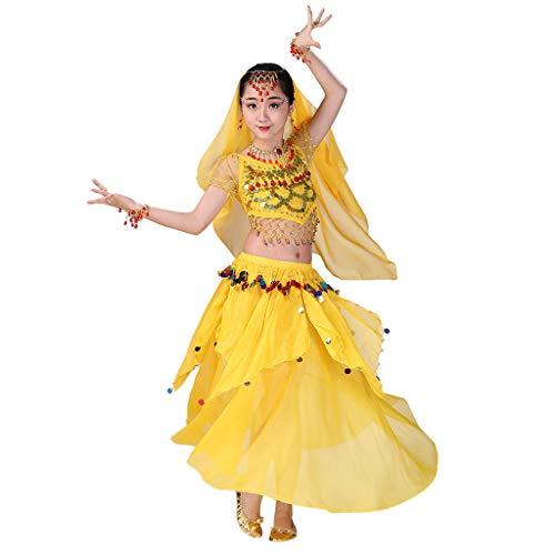 Markthym Handgemachte Kinder Mädchen Bauchtanz Kostüme Kinder Bauchtanz Ägypten Tanz Tuch Girls 'Indian Dance Bauchtanz Performance - Kind Weiß Indian Girl Kostüm