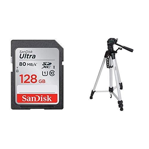 SanDisk Ultra SDXC I 128 GB bis zu 80 MB/Sek, Class 10 Speicherkarte [Frustfreie Verpackung] & AmazonBasics Leichtes Stativ, bis 1,52 m, inkl. Tasche, mit 3-Wege-Schwenkkopf und Wasserwaage - Sandisk Tasche