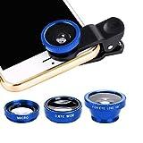 Goldyqin 3 en 1 - Juego de Objetivos de teléfono multifunción de Objetivo de pez + Macro Objetivo + Gran Angular convertir el teléfono en una cámara Profesional - Azul