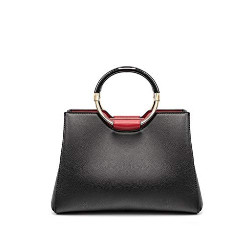 Frauen Handtasche PU Leder Classic Retro Large-Capacity Casual Schultertasche Lady Bag Fashion Messenger (Color : Black) -
