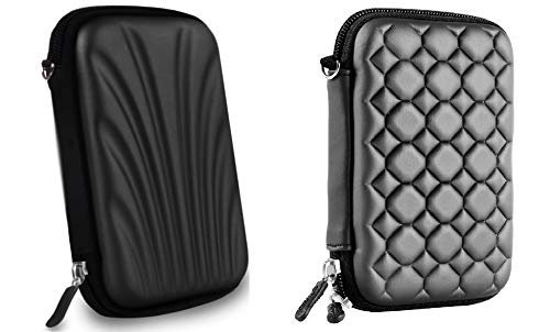 AlexVyan 2 Pcs Combo Black Special Shock Proof 2.5 Inch Laptop External Hard Disk Case Protector for Sony Transcend ADATA HP Seagate WD Toshiba Cover HDD Case Casing Carry Bag Pouch Sleeve Enclosure