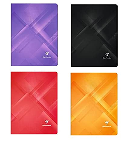 Clairefontaine-Set of 4 notebooks Minerals 96 pages 24 x 32 cm Large Squares Assorted Colours
