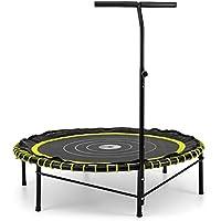 Klarfit Jumpadalic Trampolin Minitrampolin Indoortrampolin Gartentrampolin (122cm Durchmesser, gelenkschonende Federung, verstellbare Griffhöhe: 104cm/111cm/118cm) gelb