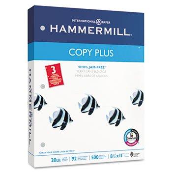 Copy Plus Copy Paper, 3-Hole Punch, 92 Brightness, 20lb, Ltr, White, 500 Shts/Rm