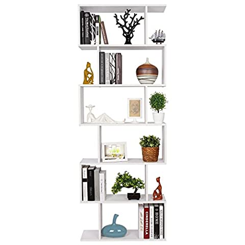 HOMFA 190.5cm Wooden Bookcase 6 Tier shelves Bookshelf Unit S Shape White Wall Stand Storage Display Rack for Home Office(S-shape)