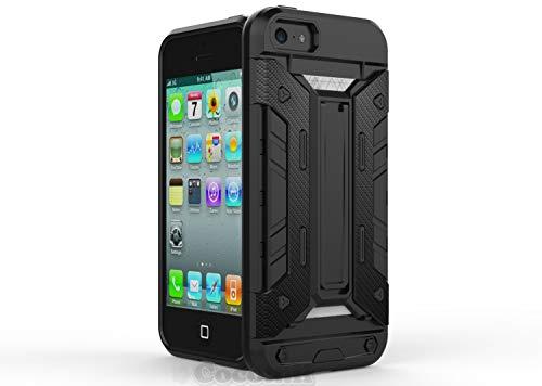 Cocomii Transformer Armor iPhone SE/5S/5C/5 Hülle NEU [Strapazierfähig] Eingebaut Brieftasche Ständer Stoßfest Gehäuse [Militärisch Verteidiger] Case Schutzhülle for Apple iPhone SE/5S/5C/5 (T.Black) (Body Armor 5c Iphone)