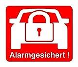 """2 Stück Aufkleber """"Alarm"""", iSecur®, alarmgesichert, 30x30mm, Art. hin_068_innen, Hinweis auf Alarmanlage, innenklebend für Fensterscheiben, Haus, Auto, LKW, Baumaschinen"""