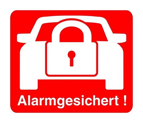2 Stück Aufkleber Alarm, iSecur®, alarmgesichert, 30x30mm, hin_068 Hinweis auf Alarmanlage, innenklebend für Fensterscheiben, Haus, Auto, LKW, Baumaschinen