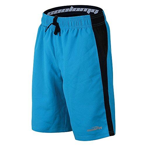 COOLOMG Herren Jungen Shorts mit Kordelzug & Taschen für Sport Fitness Training Running Hellblau XL -