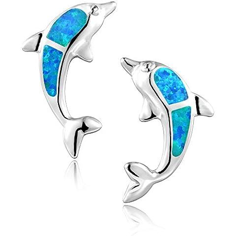 Dormith® Plata de ley 925 pendientes para las mujeres Ópalo azul sintético Delfín dejar pendiente de gota rodio moda joyas