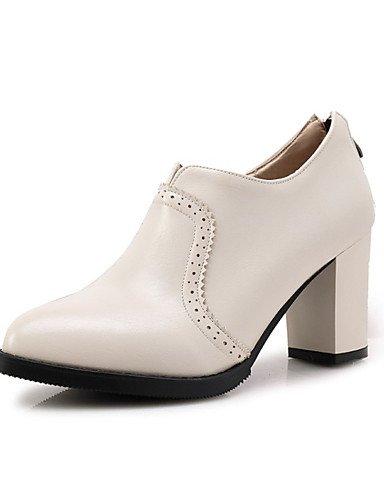 WSS 2016 Chaussures Femme-Extérieure / Habillé / Décontracté-Noir / Rouge / Blanc / Gris-Gros Talon-Talons-Chaussures à Talons-Similicuir red-us5.5 / eu36 / uk3.5 / cn35