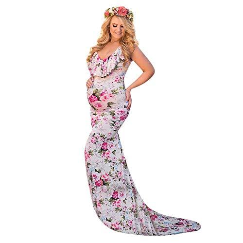 gerschaft Kleid mit V-Ausschnitt Sommer Kleider für Schwangere Ärmellos Mode Blume Gedruckt Standkleid Fotografie Stützen Lang Maxikleider ()