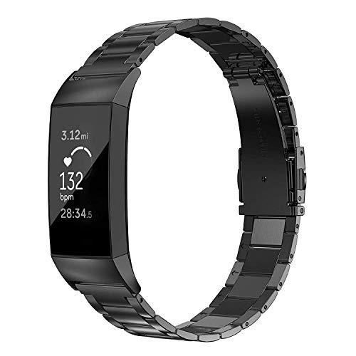 Wearlizer für Fitbit Charge 3 Armband Edelstahl Metall Leicht Ersatzband für Fitbit Charge 3 SE- Schwarz (Band Fitbit Xl)