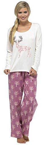 TOM Franks Damen Lange Winter Polycotton Alarm/Cuppa bedruckt Schlafanzug Pyjama, Nachtwäsche Set Gr. Large, Deer - Cream/Pink (Zebra-druck-mode-tasche)