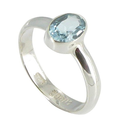 Les Poulettes Jewels - Sterling Silver Ring with Blue Topaz Oval Shape