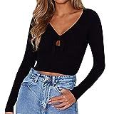 Blouse Femme, Manadlian Solide Col en V Tops de Manche Longue Manches Longues à Lacets T-Shirt Chemisier