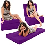 ADULT CHAIRBED - PURPLE Large Cube Chair Bed Pouffe fold out guest Z bed