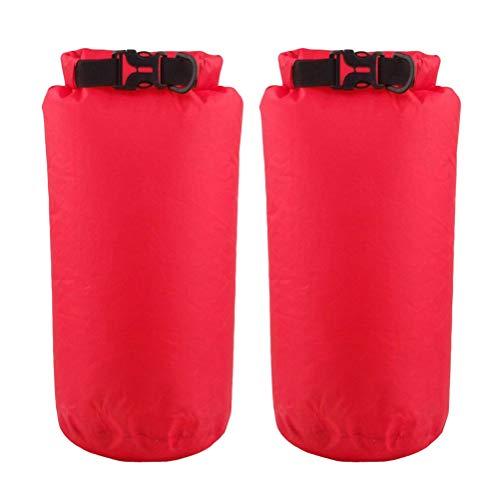 BESPORTBLE 2 STÜCKE Wasserdichte Packsack 8L Sack Rucksack für Kajakfahren Strand Rafting Bootfahren Wandern Camping und Angeln (Rot)