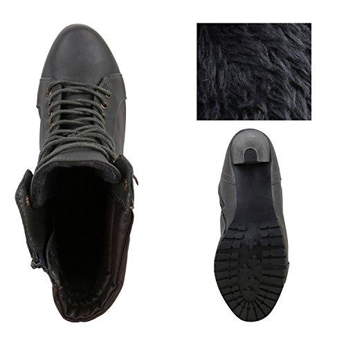 a8ea60cd4596 ... Plateau-Boots Damen Profil Sohle Stiefeletten Absatz Schuhe Grau