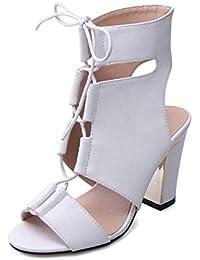 SHINIK Mujeres Peep Toe Sandalias Bombas Correa Tobillo Talón de bloqueo Ultra-cómodo Fácil de usar Correas cruzadas Oros de oro Zapatos de tacón alto Ladies Pumps Zapatos de corte Blanco Negro , white , 37