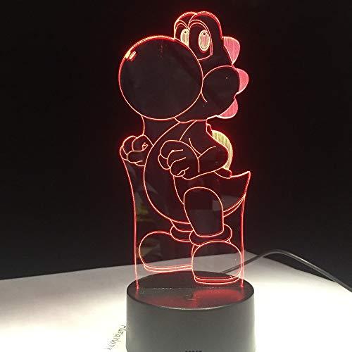 FaceToWind Klassische Cartoon Spielfigur Super Mario Bros Luigi Kröte Dragon 3D LED Lampe Acryl Neuheit Weihnachtsbeleuchtung Geschenk USB Touch Spielzeug
